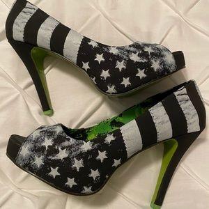 Peep Toe Platform USA Flag Design Shoes - Size 11